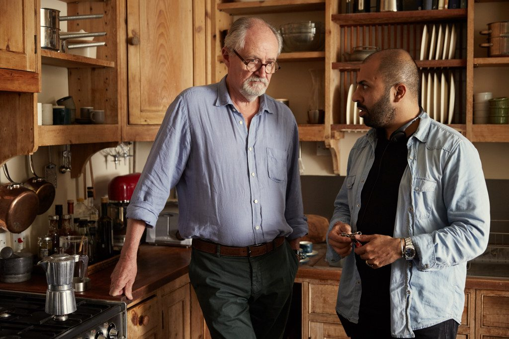 Jim Broadbent with Ritesh Batra on the sets of The Sense of an Ending