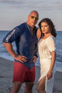 (L-R) Dwayne Johnson and Priyanka Chopra on the set of the BAYWATCH by Paramount Pictures