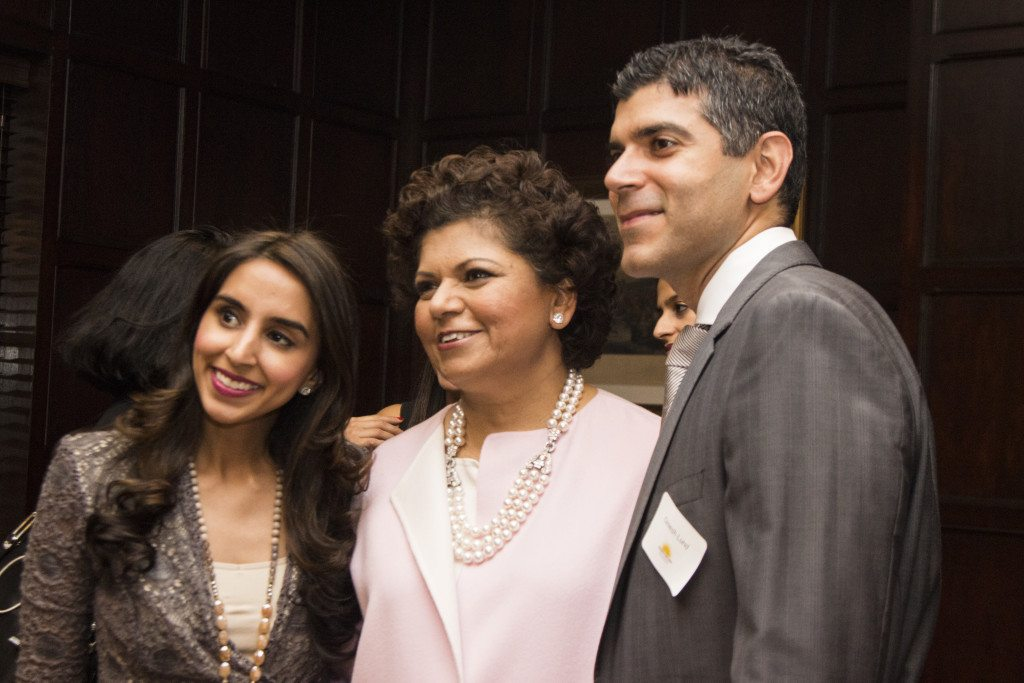Chandrika Tandon flanked by Monica and Omesh Lund