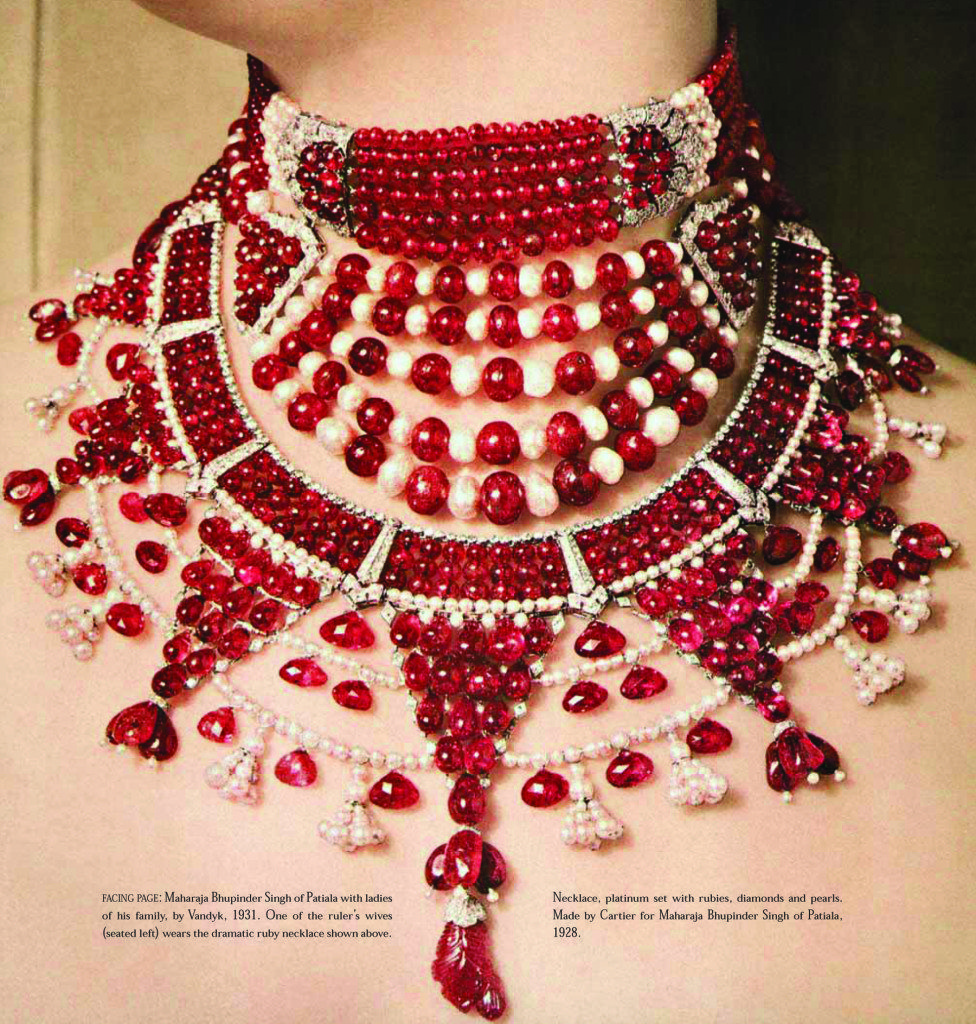 Platinum necklace set with rubies, diamonds and pearls. Made by Cartier for Maharaja Bhupinder Singh