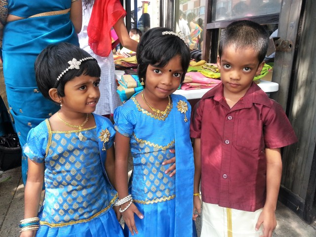 Three siblings at Ganesha's Festival