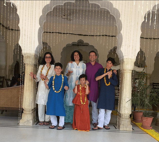 Sarab Kaur with her daughter, son-in-law and grandchildren