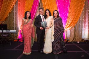 The Sani Family was honored for their for their commitment to CHI. Sunil and Sharmila Sani received the award on behalf of the family are flanked by Maya Rajani and Dr. Dina Pahlajani, co-founder and co-president of Children's Hope