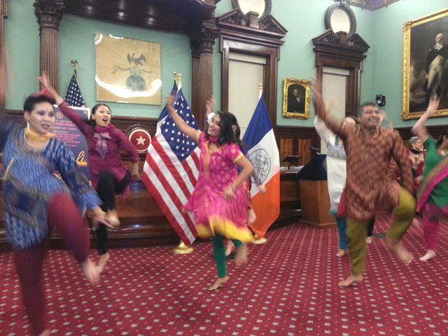 Dancing the bhangra in the City Hall chambers in celebration of Diwali - photo -Lavina Melwani